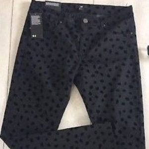H&M Black Animal Print Skinny Pants  Sz. 8